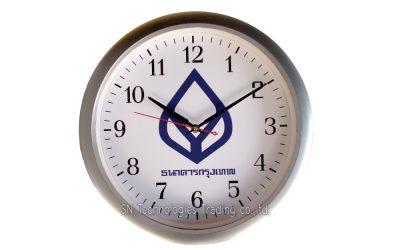 นาฬิกาแขวน 15 นิ้ว ทรงกลม สีเงินด้าน (16)