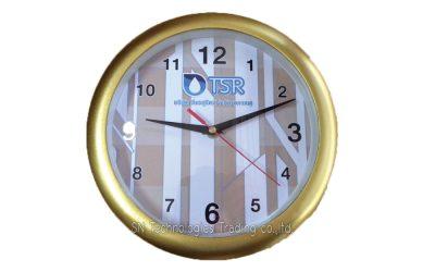 นาฬิกาแขวน 10 นิ้ว ทรงกลม  ขอบเคลือบ สีทองด้าน (21)