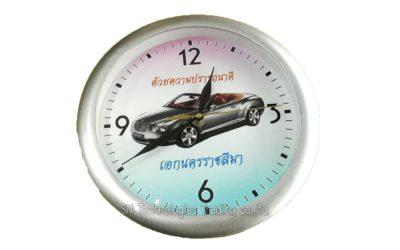 นาฬิกาแขวน 10 นิ้ว ทรงกลม ขอบเคลือบ สีเงินด้าน (22)