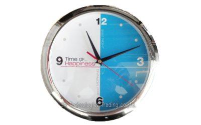 นาฬิกาแขวน 10 นิ้ว ทรงกลม ขอบเคลือบ สีเงินเงา (24)