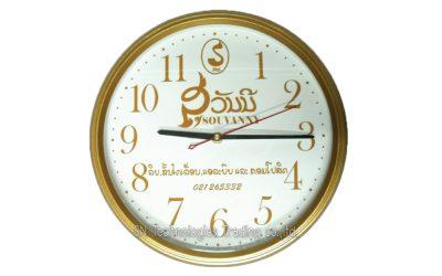 นาฬิกาแขวน 12.5 นิ้ว ทรงกลม ขอบเคลือบ สีทองด้าน (28)